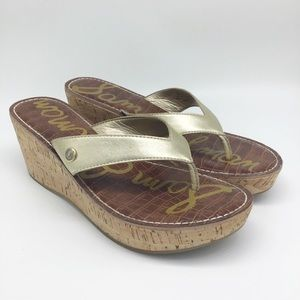 Sam Edelman Gold Romy Wedge Sandals 10 M